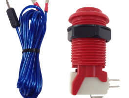 Red Arcade Button with Cable