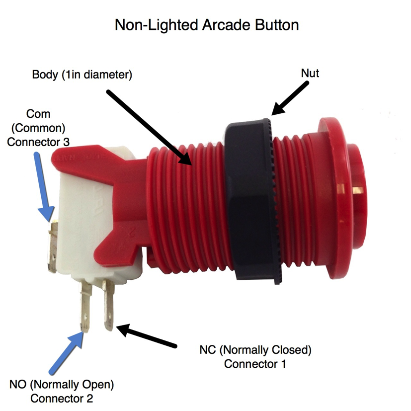 Non Lighted Arcade Button Diagram